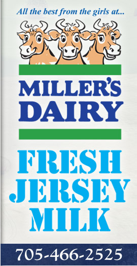 All the best from the girls at Miller's Dairy! Fresh Jersey Milk. 705-466-2525