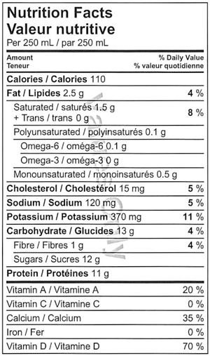 Miller's Dairy 1% Milk Nutrition Facts